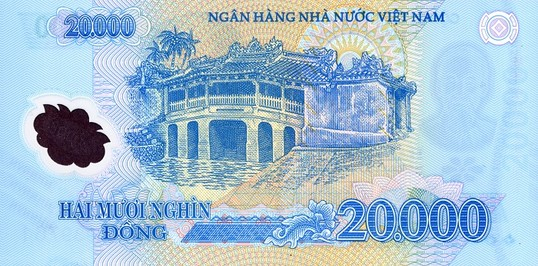 Denomination 20000 Dong Size 136 X 65 Mm Issue Date May 17 2006 Colour Blue Front Ho Chi Minh Rear Covered Bridge In Hoi An Value Us