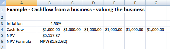 Net Present Value example