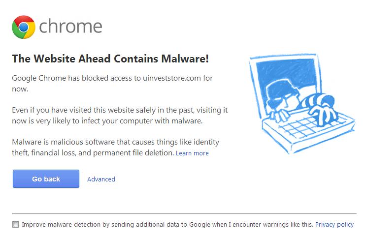 Univest store malware warning