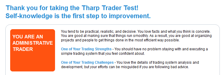 Van Tharp Test result for day trading on 20/June/2012