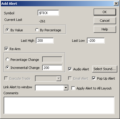eSignal Add Alert Dialog box settings for $TICK
