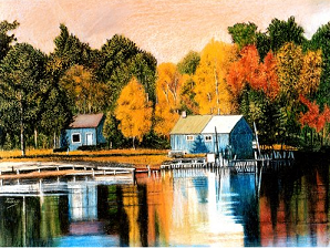 scenic dock in crayon